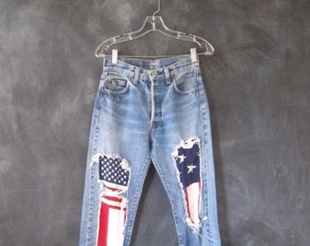 15% OFF Out Of Town SALE Levis 501 Light Blue Denim Holes Patched American Flag Ladies Size 27