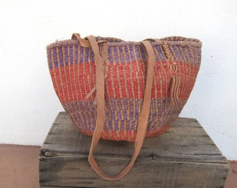 80s African Tote Woven Stripe Raffia Ethnic Bucket Sisal Bag w/ Leather Trim