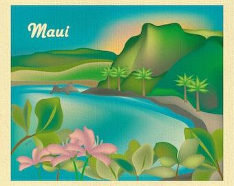 Maui Art Print, Maui wall art, Maui canvas, Maui poster, Maui travel art gift, Maui Island Art Print, Hana Beach scenic wall art - E8-O-MAU