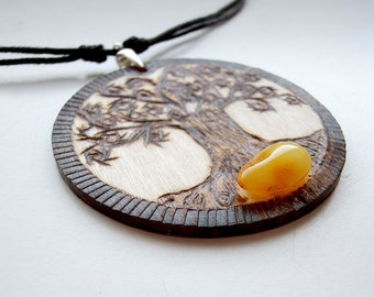OOAK  Burned wood pendant with Baltic amber and silver sterling, on cotton strings with sliding knots - pyrography, tree of life, world tree