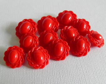1950s Red Dress Buttons Two Sizes