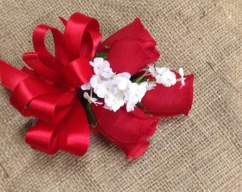 New Artificial Red Rose Corsage, Red  Rose Mother's Corsage, Red Corsage, Red Wedding Flowers