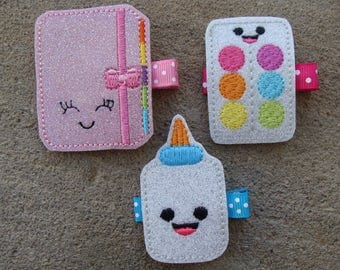 Back To School Hair Clips Glue Hair Clip Paper Hair Clip School Hair Clip Pink Pencil Hair Clip Pencil and Paper Clips