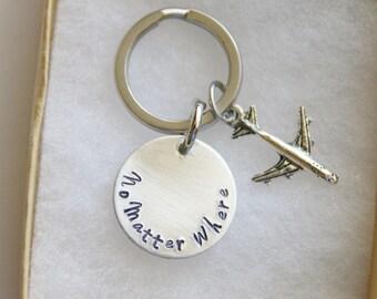No Matter Where Keychain, Distance Friendship Keychain, No Matter Keychain, Airplace Keychain, Long Distance Gift, Purse Zipper Puller