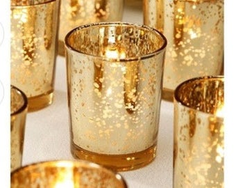 90 Gold Votive Holders Mercury Glass Wedding Decor Gold Wedding Decor Tea light Candle Holder Gold Mercury Glass Event Party Decor
