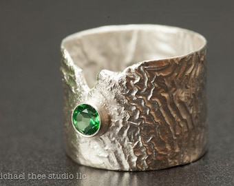 """Textured silver ring with bright green topaz, """"Revealed,"""" U.S. size 11, reticulated"""