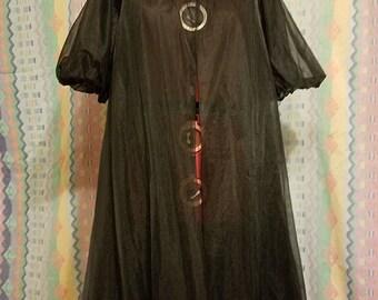 Vintage Lingerie sheer black robe, dressing gown, housecoat