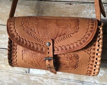 Vintage Hand Tooled leather Purse Brown