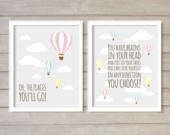 Oh, the Places You'll Go! Instant Download Digital Printable Wall Art-Set of 2 8x10- Dr Seuss Hot Air Balloon Grey Gray Pastel Nursery Decor