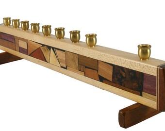 Mosaic Strip Hanukkah Menorah – Modern Decorative Chanukkah Menorah – Jewish Gift