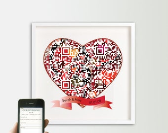 Wedding Guest Book Alternative, Personalized Interactive Digital Guest Book, QR Code Geek Wedding, Tech Savvy Wedding, 25th anniversary gift