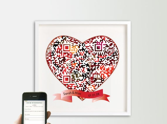 Personalized interactive digital guestbook - online wedding guest book alternative - geek wedding - tech savvy weddings - QR code