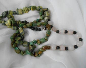 BOHEMIAN LOVE BEADS  rose quartz turquoise and agate rounds long necklace or wear as bracelet too