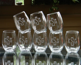 Engraved Stemless Wine Glasses Personalized with Monogram, Set of 8 - Housewarming. Birthday. Wedding