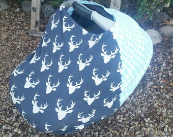 Baby Car Seat Canopy - Stretchy Car Seat Cover - Nursing Poncho - Deer Antler Baby Cover - Baby Shower Gift - Navy Aqua 3 in 1 Baby Cover