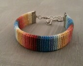 Colorful Crochet Band Bracelet Gradient Blue Orange Vibrant Bracelet