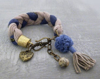 Mocha Navy Boho Chic Braided Bracelet, Heart Charm Bracelet Textile Jewelry, Pom Pom Bracelet Jasper Gemstone