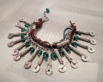 Linen Stick Bracelet Emerald Green Glass Beads, Belly Dance Bracelet, Chinese Coins Bracelet, Multi Line Bracelet Bohemian Jewelry