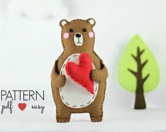 Bear Sewing Pattern, Felt Bear, PDF Pattern, Felt Bear Pattern, Woodland Bear, Softie  Toy, Ornament, Woodland Baby Mobile