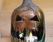 Ceramic Jack-o'-lantern in Metallic Copper and Green Pumpkin Luminary Tea Light