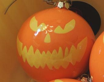 Ceramic Christmas Ball Ornament Jack-o'-lantern Pumpkin Face in Orange and Yellow