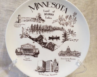 Minnesota Land of 10,000 Lakes Made in England Fine Bone China by Coyne's 8.5""