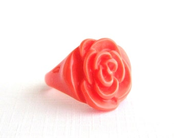Vintage Carved Celluloid Coral Flower Ring - Size 7.5