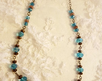 Turquoise and Brown Glass Beaded Necklace