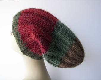 ICELANDIC LOPI WOOL Slouch Beanie Fold Up Color Block Hat in Red Brown / Lopi yarn Knit Slouch hat/ Ready to Ship