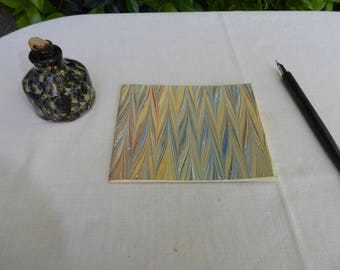 Small blue, red and tan hand marbled paper hand sewn notebook