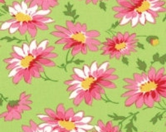 Glamping Daisies green Mary Jane moda fabric FQ or more