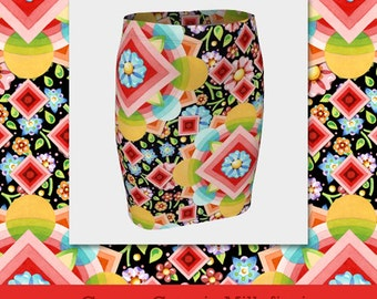 Fitted pencil spandex skirt in Groovy Cosmic Millefiori pattern placement print created by designer Patricia Shea