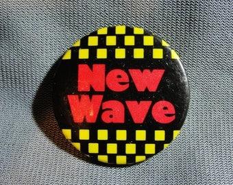 "Vintage 1980's NEW WAVE Pinback Button Badge, 1.5"""