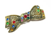Reserved for LauraVictorian Bow Brooch - Art Nouveau Rhinestone Bow -  Rhinestones - Czech or Germany European 1910 - 1920