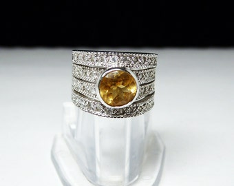 Wide Cigar Band Ring - Topaz Yellow Citrine & Crystal Glass Rhinestones - Stacked Ring Design - Sterling Silver Marked 925 - Vintage 1980's