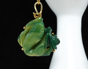 Crown Trifari Carved Faux Jade Koi Fish Pendant - Gold Tone Large Link Chain Necklace - Vintage 1970's