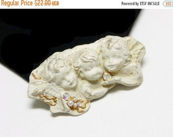 Three Angels Brooch - Molded Chalk White Cherubs - Signed La Rose -  Religious Replica Artifacts from Europe Modern Romantic Era Jewelry