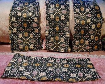 Vintage Fabric Remnant Lot Gold black Metallic Threads