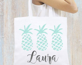 Pineapples Tote Bag Monogrammed Personalized Tote Bag, Bridesmaid Gift Monogrammed Gift, Personalized Beach Totes Personalized Book Bag