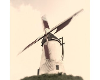 "Fine Art Color Travel Photography of Windmill in the Belgium Landscape - ""Windmill at Damme"""