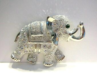 Vintage Rhinestone Elephant Brooch Vintage Large Silver Green Rhinestone Eye Elephant Gift for Her Elephant Jewelry Under 25
