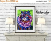 50% Off Today- Maine Coon Cat Art Poster Print of painting by Heather Galler (HG596)