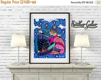 50% Off Today- Cat Angels Art  Poster Print of  Painting  by Heather Galler (HG252)