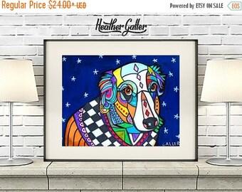 50% Off Today- Australian Shepherd Art - art dog  Art Print Poster by Heather Galler - Modern Abstract Blue Dog (HG146)