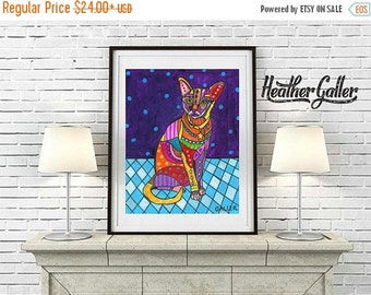 50% Off Today- Abyssinian Art - Cat Folk art Poster Print of  Painting  by Heather Galler (HG102)
