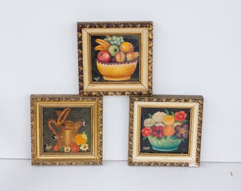 Vintage Miniature Oil Painting Collection, Fruit Flower Still Life,