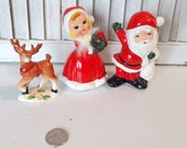 Antique Santa with Mrs Claus and Rudolph Set from Japan 0075