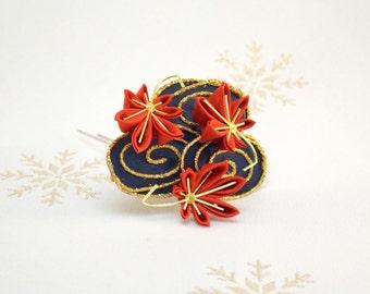 Last autumn leaves Japanese kanzashi hair pin