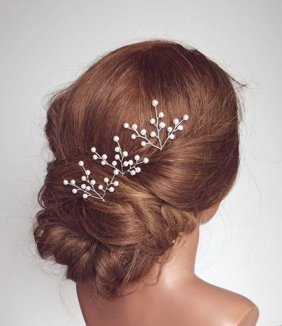 Baby S Breath In Hair: Pearl Hair Pins Bridal Hair Pieces Baby's Breath Hair