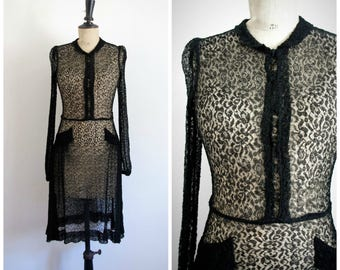 Vintage 40's Sheer Black Fine Lace Midi Dress  / Extra Small to Small